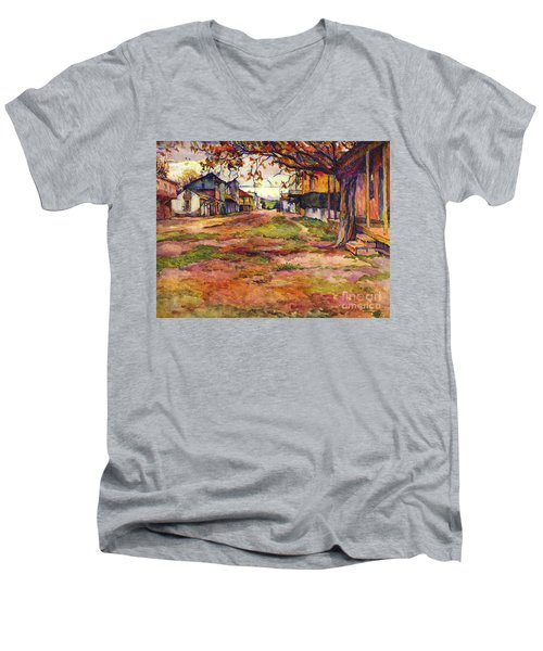 Main Street Of Early Spanish California Days San Juan Bautista Rowena M Abdy Early California Artist Men's V-Neck T-Shirt