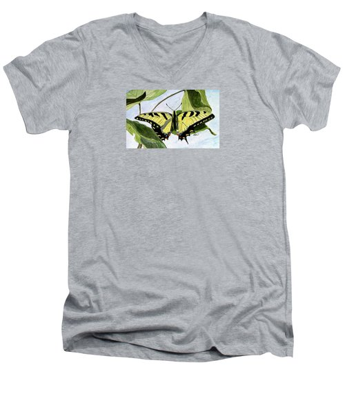 Men's V-Neck T-Shirt featuring the painting Male Eastern Tiger Swallowtail by Angela Davies