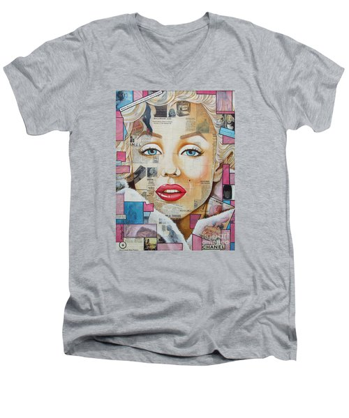 Men's V-Neck T-Shirt featuring the painting Marilyn In Pink And Blue by Joseph Sonday