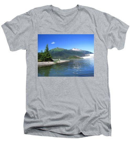 Men's V-Neck T-Shirt featuring the photograph Mendenhall Glacier by Jennifer Wheatley Wolf