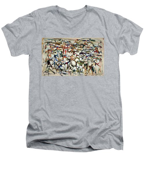 Mitchell's Piano Mecanique Men's V-Neck T-Shirt by Cora Wandel