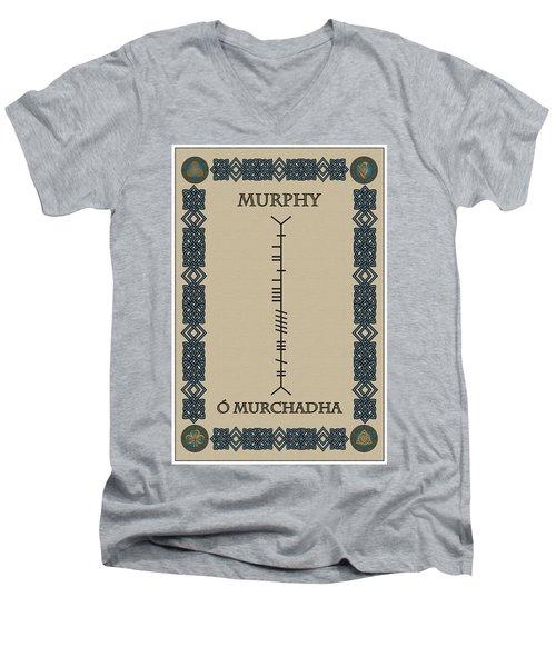 Men's V-Neck T-Shirt featuring the digital art Murphy Written In Ogham by Ireland Calling