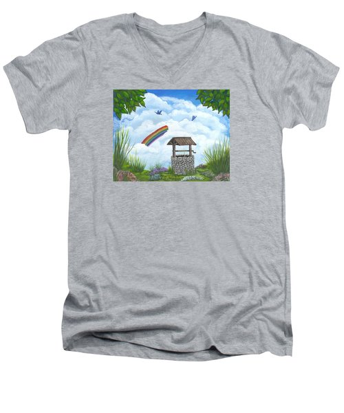 Men's V-Neck T-Shirt featuring the painting My Wishing Place by Sheri Keith