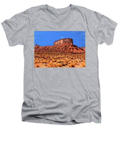 Men's V-Neck T-Shirt featuring the painting National Navajo Tribal Park by Bob and Nadine Johnston