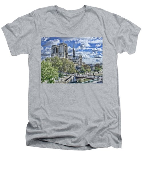 Men's V-Neck T-Shirt featuring the photograph Notre Dame by Hugh Smith