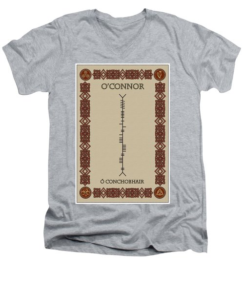 Men's V-Neck T-Shirt featuring the digital art O'connor Written In Ogham by Ireland Calling