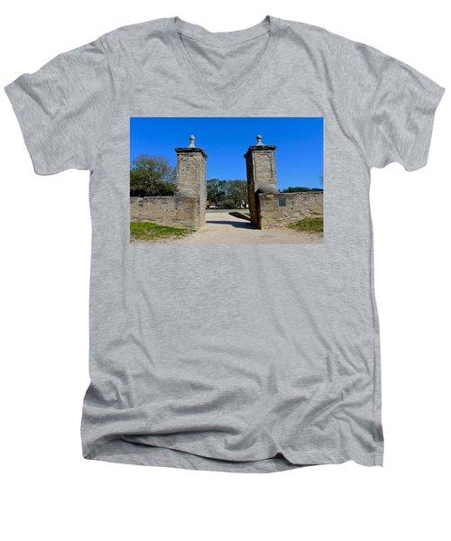 Old City Gates Of St. Augustine Men's V-Neck T-Shirt