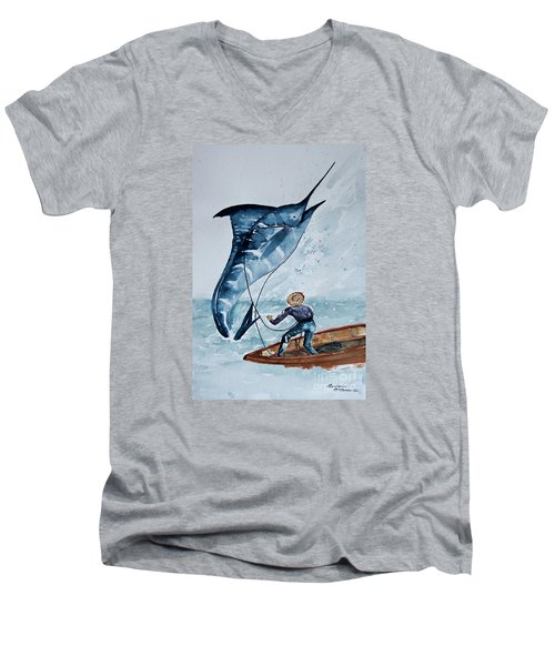 Old Man And The Sea Men's V-Neck T-Shirt by Barbara McMahon