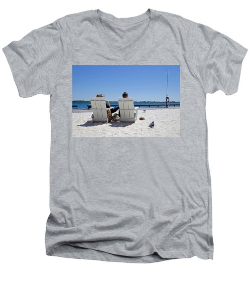 On The Waterfront Men's V-Neck T-Shirt by Keith Armstrong