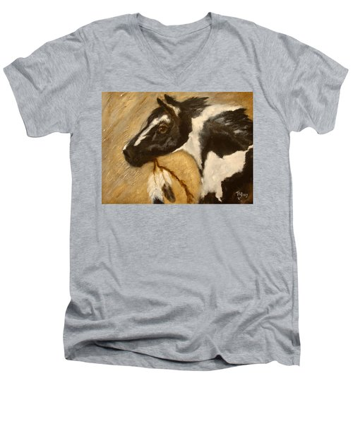 Men's V-Neck T-Shirt featuring the painting Oxbow's Medicine Man by Barbie Batson