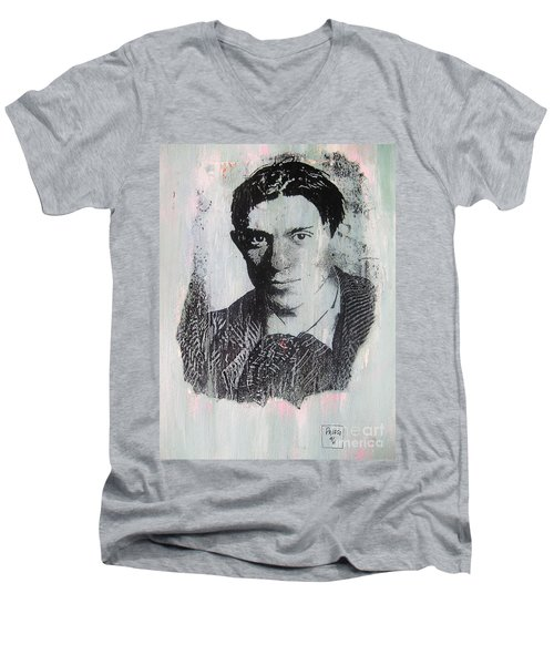 Men's V-Neck T-Shirt featuring the painting Pablo by Roberto Prusso
