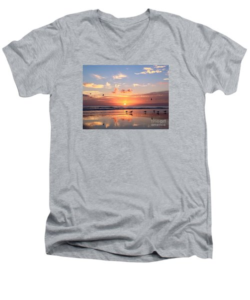 Painted Sky Men's V-Neck T-Shirt by LeeAnn Kendall