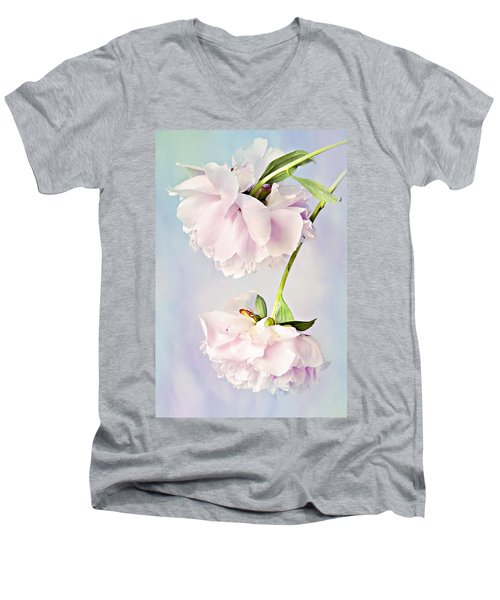 Pastel Peonies Men's V-Neck T-Shirt