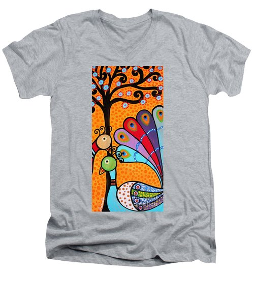 2 Peacocks And Tree Men's V-Neck T-Shirt by Pristine Cartera Turkus