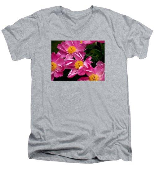 Pink Petals Men's V-Neck T-Shirt by Eunice Miller