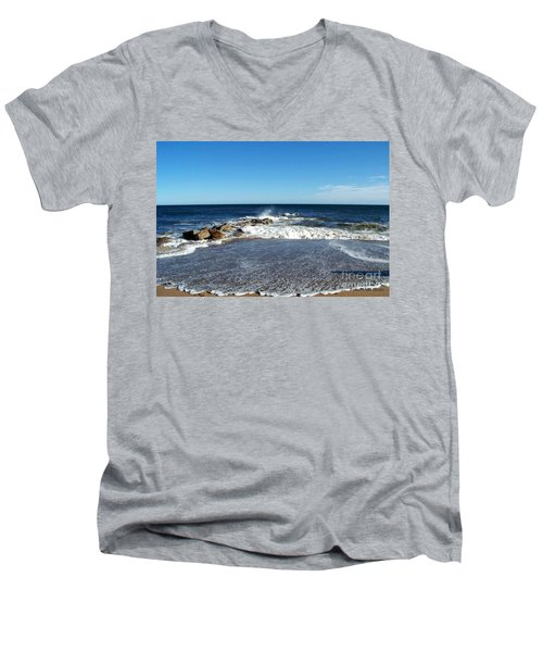 Men's V-Neck T-Shirt featuring the photograph Plum Island Landscape by Eunice Miller