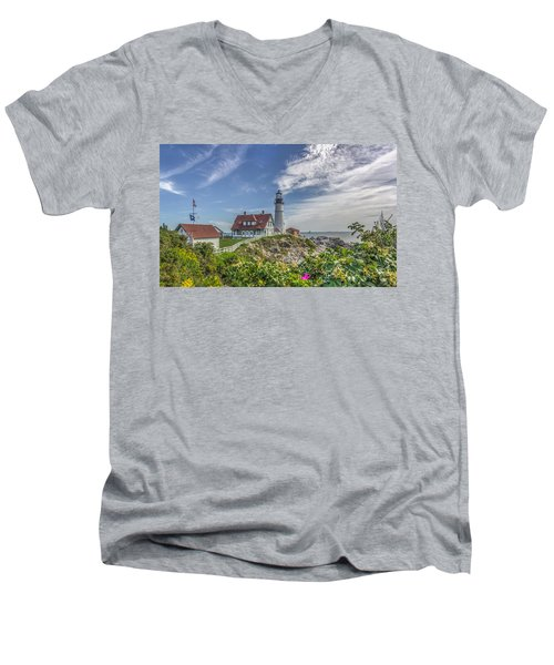 Men's V-Neck T-Shirt featuring the photograph Portland Headlight by Jane Luxton