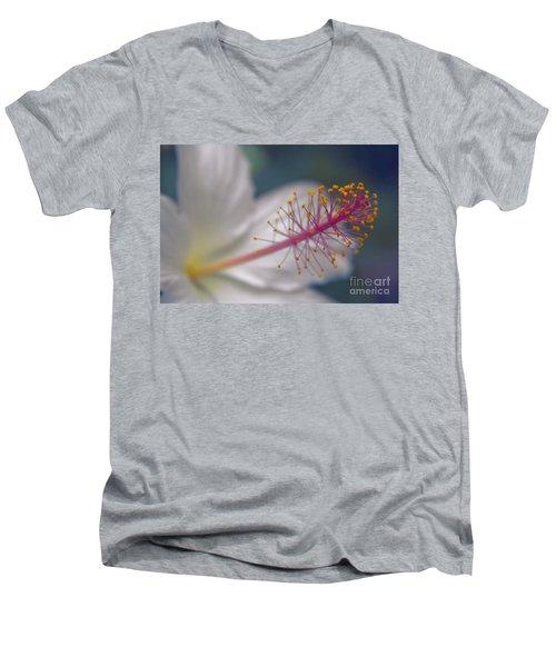 Men's V-Neck T-Shirt featuring the photograph Pua Aloalo - Koki'o Ke'oke'o - Hibiscus Arnottianus - Hawaiian White Hibiscus  by Sharon Mau