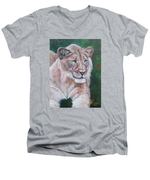 Queen Of The Beast,lioness Men's V-Neck T-Shirt