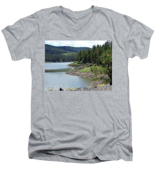 River Reservoir Men's V-Neck T-Shirt by Pamela Walrath