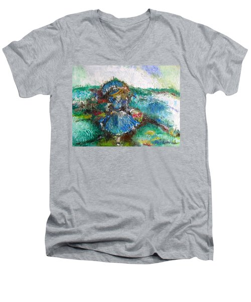 Men's V-Neck T-Shirt featuring the painting Roses For My Mother by Laurie L