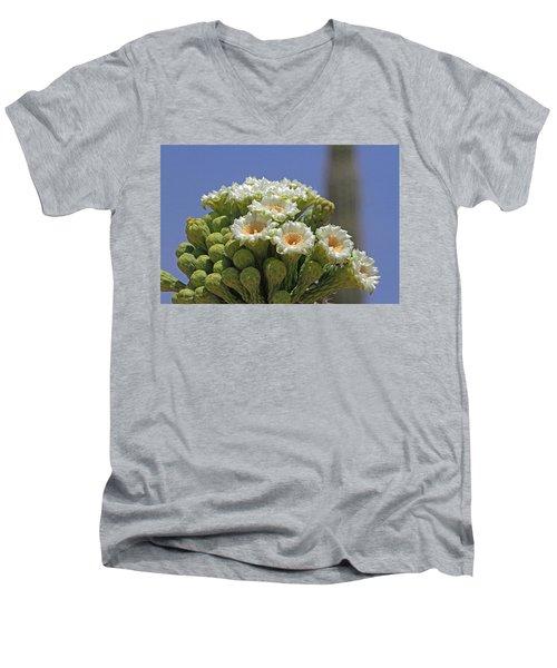 Saguaro Flower And Buds  Men's V-Neck T-Shirt by Tom Janca