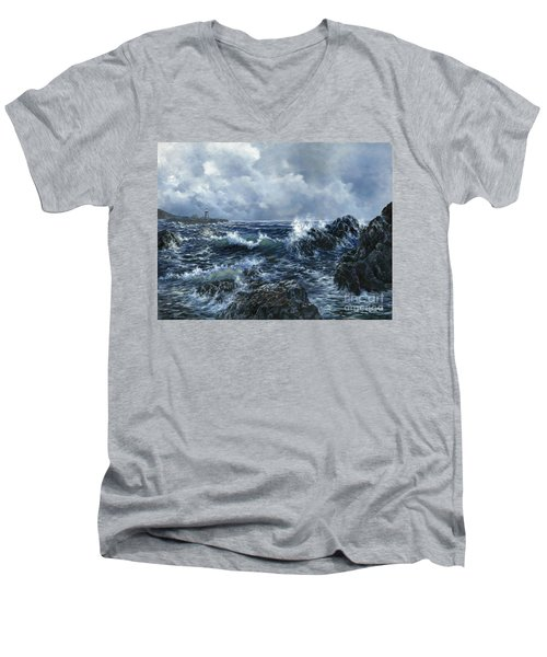 Men's V-Neck T-Shirt featuring the painting Sailor's Light by Lynne Wright