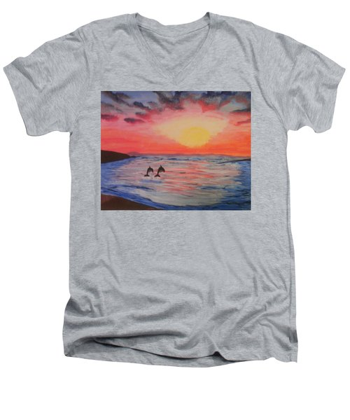 Men's V-Neck T-Shirt featuring the painting 2 Souls Reunited by Thomasina Durkay