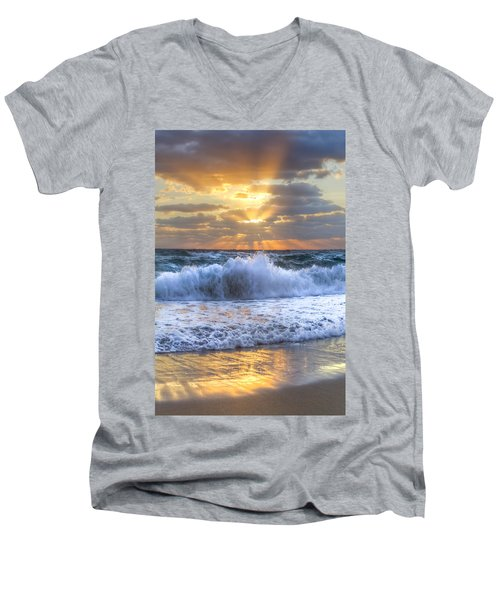 Splash Sunrise Men's V-Neck T-Shirt by Debra and Dave Vanderlaan