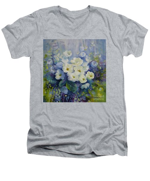 Men's V-Neck T-Shirt featuring the painting Spring by Elena Oleniuc