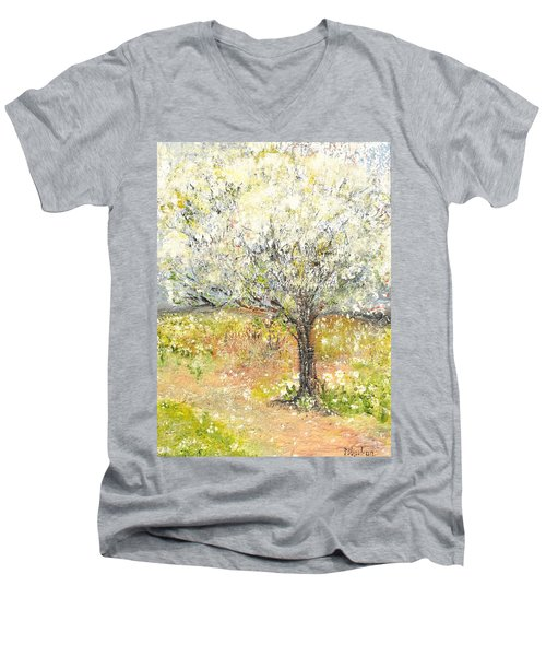 Men's V-Neck T-Shirt featuring the painting Spring by Evelina Popilian