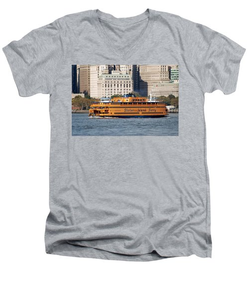 Staten Island Ferry Men's V-Neck T-Shirt by Rob Hans