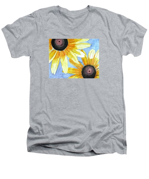 Men's V-Neck T-Shirt featuring the painting Summer Susans by Angela Davies