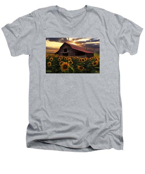 Sunflower Farm Men's V-Neck T-Shirt by Debra and Dave Vanderlaan