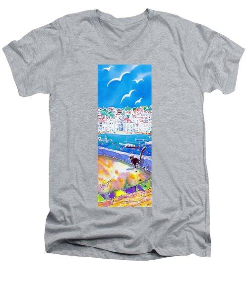 Sunset In Costa Brava Men's V-Neck T-Shirt