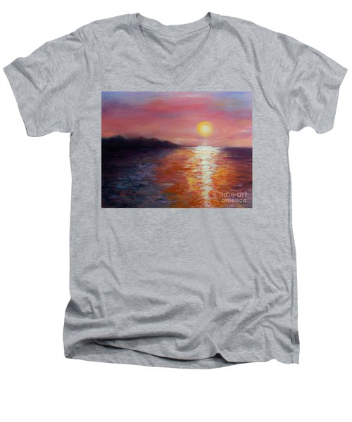 Sunset In Ixtapa Men's V-Neck T-Shirt by Marlene Book