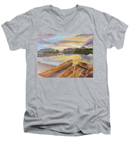 Sunset Over Serenity Lake Men's V-Neck T-Shirt