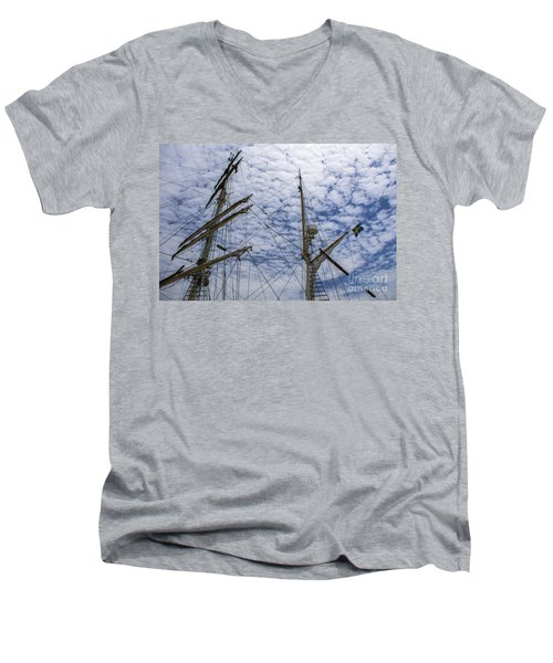 Men's V-Neck T-Shirt featuring the photograph Tall Ship Mast by Dale Powell