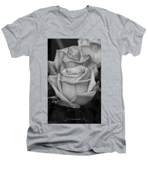 Tea Roses In Black And White Men's V-Neck T-Shirt by Jeanette C Landstrom