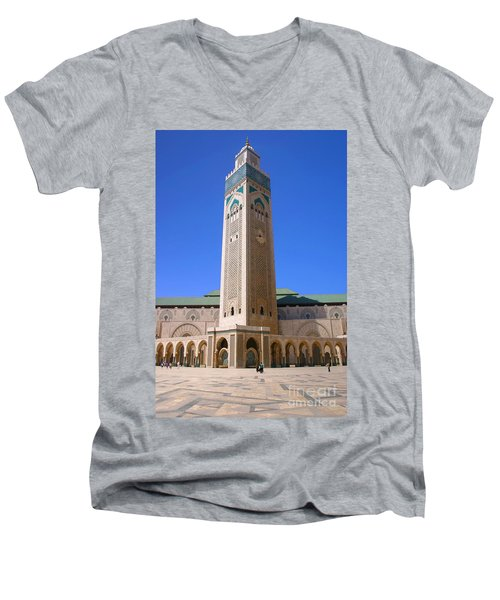 Men's V-Neck T-Shirt featuring the photograph The Hassan II Mosque Grand Mosque With The Worlds Tallest 210m Minaret Sour Jdid Casablanca Morocco by Ralph A  Ledergerber-Photography