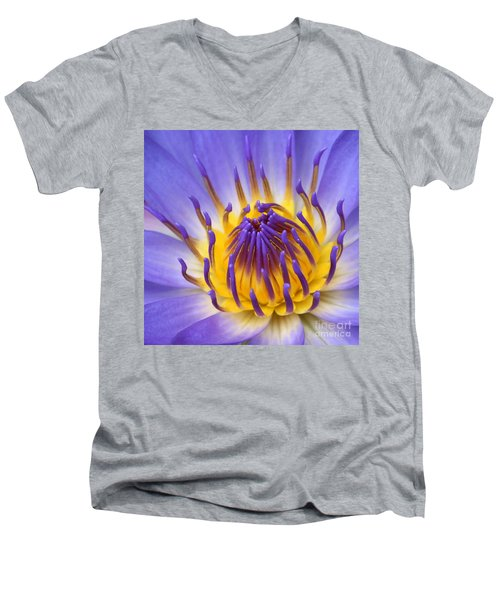 The Lotus Flower Men's V-Neck T-Shirt by Sharon Mau