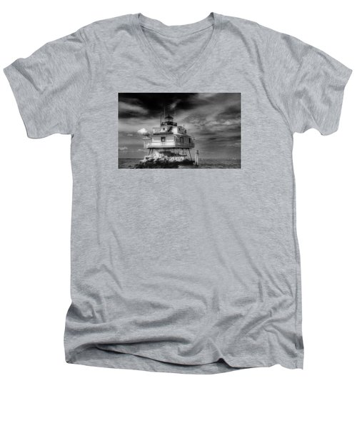 Thomas Point Shoal Lighthouse Men's V-Neck T-Shirt by Skip Willits