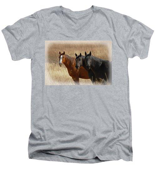 Three Horses Men's V-Neck T-Shirt