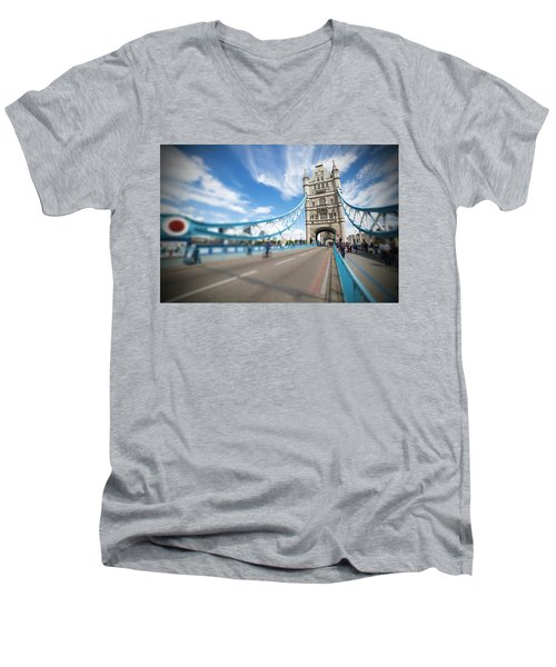 Men's V-Neck T-Shirt featuring the photograph Tower Bridge In London by Chevy Fleet