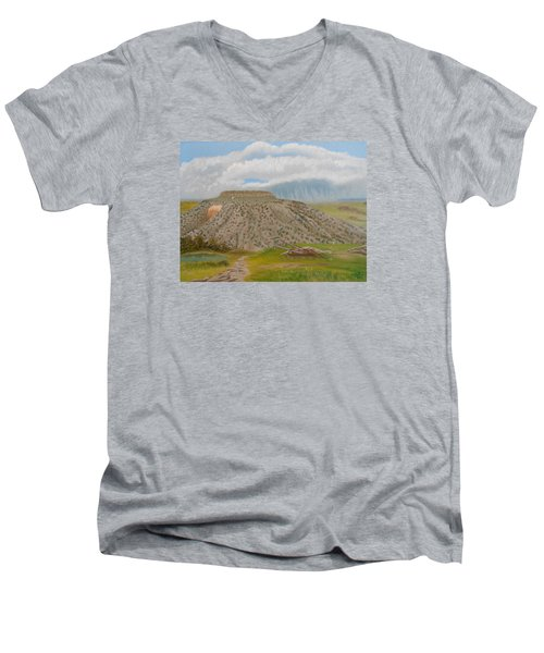 Men's V-Neck T-Shirt featuring the painting Tucumcari Mountain Reflections On Route 66 by Sheri Keith