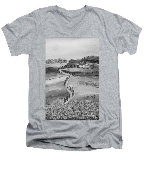 Men's V-Neck T-Shirt featuring the painting Verde Sentiero by Loredana Messina