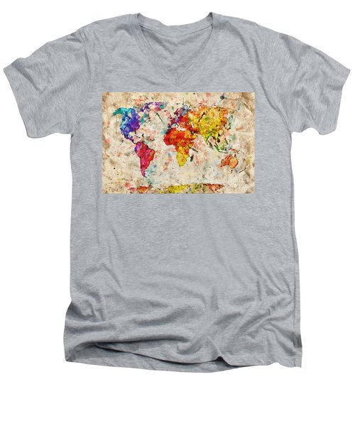 Vintage World Map Men's V-Neck T-Shirt by Michal Bednarek