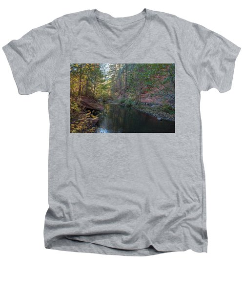 West Fork Men's V-Neck T-Shirt by Tam Ryan