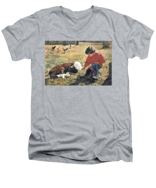 Men's V-Neck T-Shirt featuring the painting 20 Minute Orphan by Lori Brackett