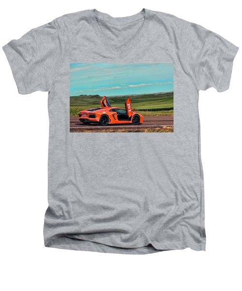 2012 Lamborghini Aventador Men's V-Neck T-Shirt